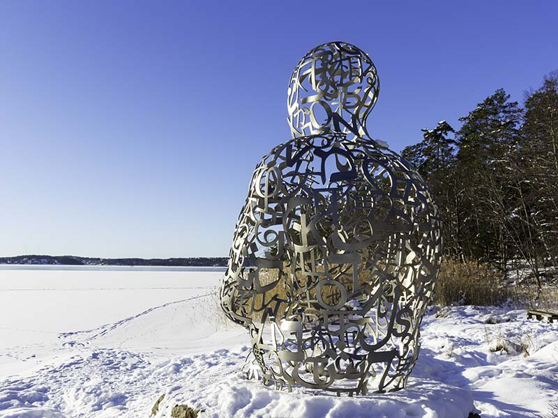 "A wintertime photo of one of the artworks included in ""Sculpture in Nature"""